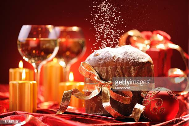panettone in christmas time - christmas cake stock photos and pictures