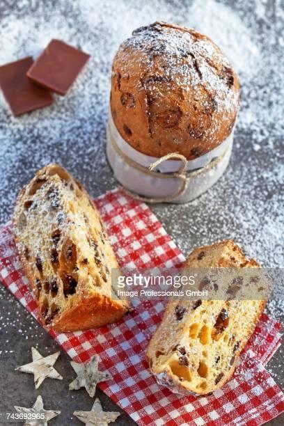 Panettone with chocolate - typical Italian Christmas cake