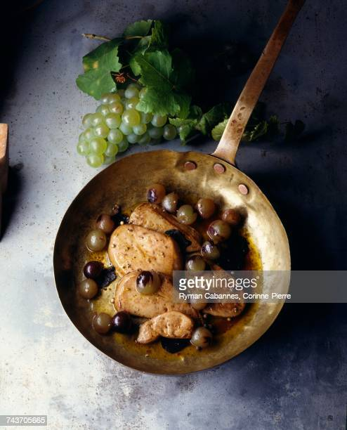 pan-fried foie gras with grapes - foie gras stock photos and pictures