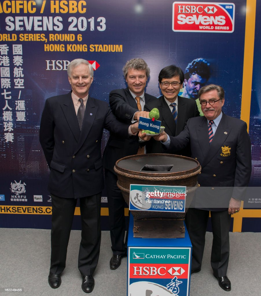 Pang Chung, John Slosar, Gordon French and Brian Davidson during the Cathay Pacific/HSBC Hong Kong Sevens 2013 Official Draw held at Hysan Place, on February 21, 2013 in Hong Kong.