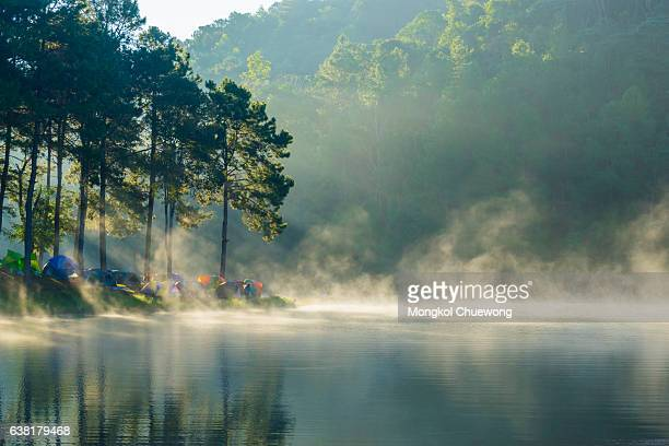 Pang ung park and Morning in forest with camping in the mist, Pangung Mae Hong Son near Chiang Mai, Thailand