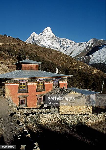 Pangboche Monastery With Ama Dablam Peak As A Beautiful Backdrop Everest Region Of The Khumbu Nepal