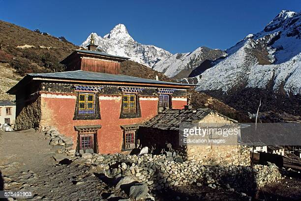 Pangboche Monastery With Ama Dablam Peak As A Beautiful Backdrop Everest Region Of The Khumbu Nepal