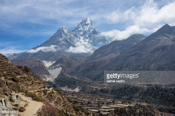 Pangboche village and Ama Dablam mountain peak, Everest region