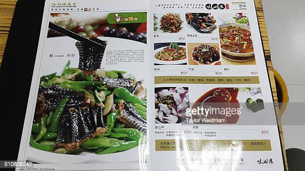 Pangolin and other exotic animals are advertised with pictures at a Chinese restaurant on February 16 2016 in Mong La Myanmar Mong La the capital of...