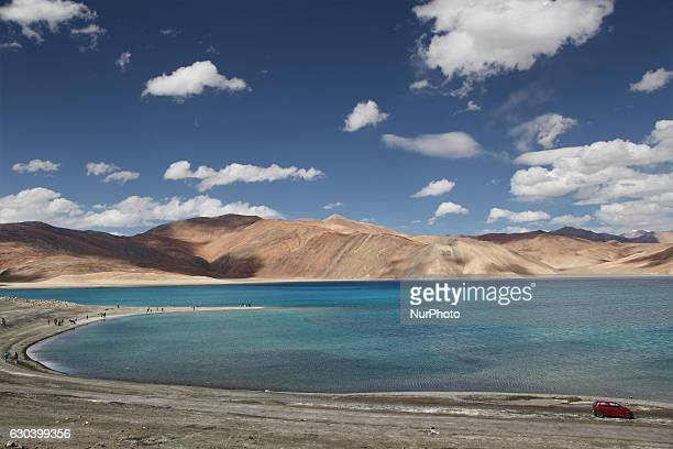Pangong Lake in Ladakh Jammu and Kashmir India Pangong Lake is a salt water lake in the Himalayas situated at a height of about 4350 m The lake was...