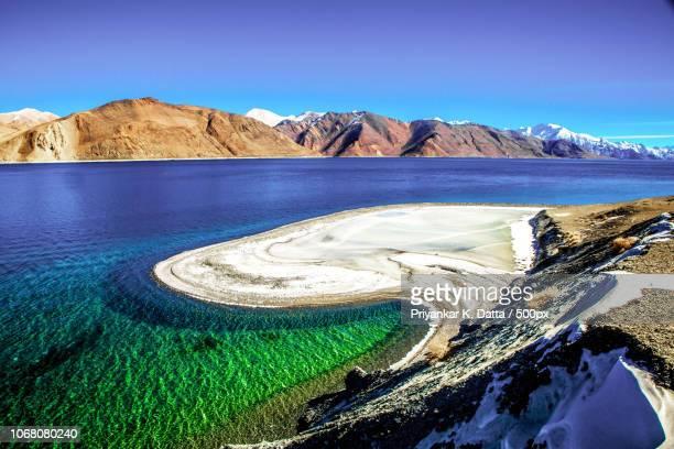 Pangong Tso lake and mountains of Himalayas