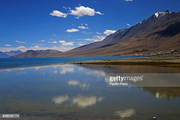 Pangong Tso lake in Ladakh Indian Administered Kashmir the disputed territory between India and China