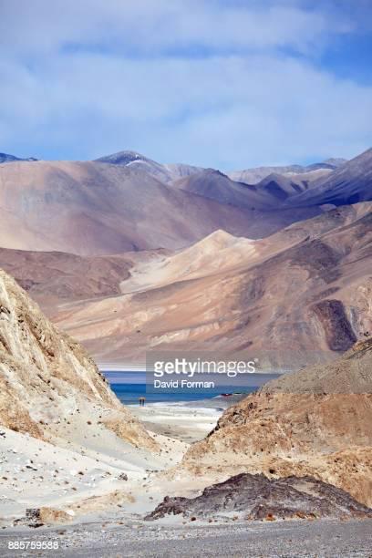 Pangong Tso (lake) surrounded by Himalayan mountains, Ladakh, India.