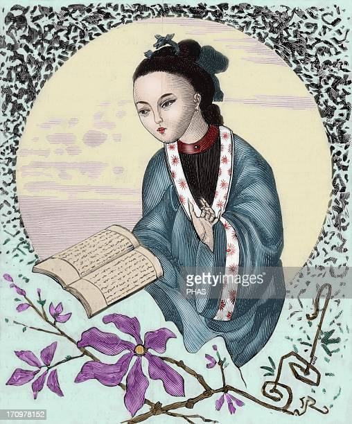Panhoeipan Chinese intellectual Portrait The Spanish and American Illustration 1886 Engraving by Vela