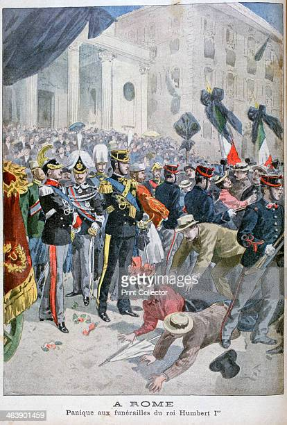 Panic at King Humbert's funeral Rome 1900 An illustration from Le Petit Journal 26th August 1900