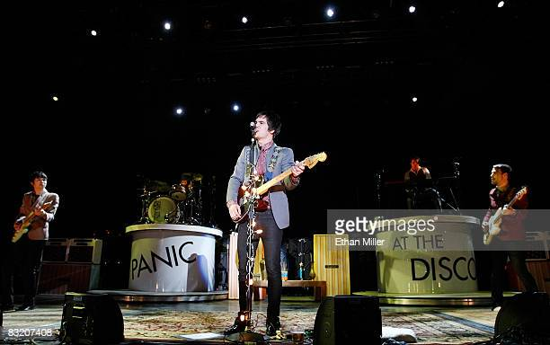 Panic at the Disco guitarist Ryan Ross frontman Brendon Urie and bassist Jon Walker perform during the Ambassadors of Rock Tour at the Hard Rock...