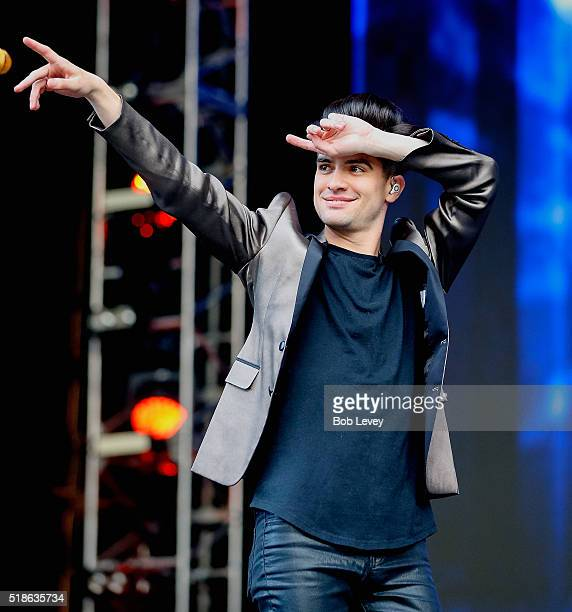 Panic at the Disco lead singer Brendon Urie performs during the NCAA March Madness Music Festival 2016 at Discovery Green on April 1 2016 in Houston...