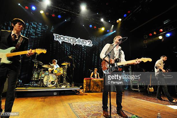 Panic at the Disco perform during the MTV Games Hosts Rock Band 2 Party to Benefit LIFEbeat at the House of Blues on September 6 2008 in Los Angeles...