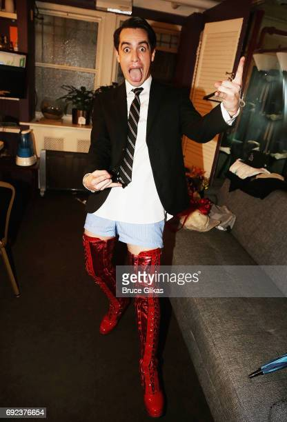 Panic at The Disco's Brendon Urie as Charlie Price poses in his dressing room backstage after making his broadway debut in Kinky Boots on Broadway at...