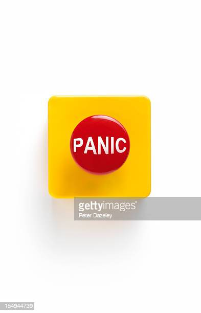 panic button on white background - terrified stock pictures, royalty-free photos & images