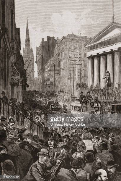 Panic on Wall Street, May 14, 1884. From Harper's Weekly, edition of May 24, 1884. The panic was precipitated by the failure of two major companies....