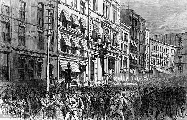 A panicked crowd on Broad Street New York City after the closing of the stock exchange doors during the Panic of 1873 20th September 1873 The stock...