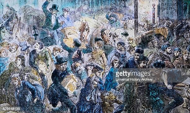 PanicStricken Crowd during Great Chicago Fire Chicago Illinois USA HandColored Lantern Slide 1871