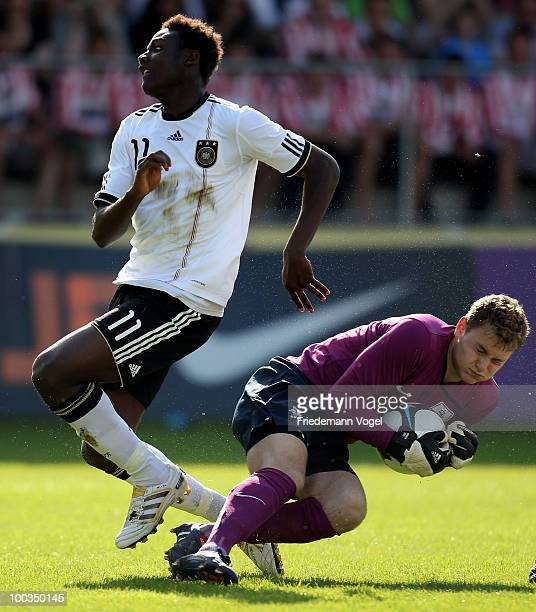 Paniel Mlapa of Germany in action with Jeroen Zoet of Netherlands during the Uefa Under 19 Championship Elite Round between Netherlands and Germany...