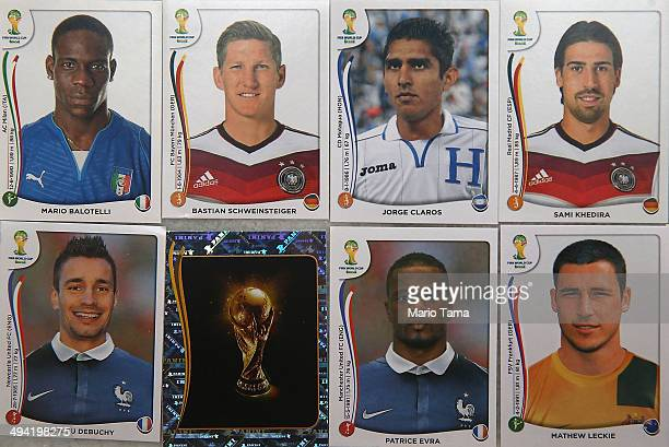 Panini World Cup stickers are displayed on May 28 2014 in Rio de Janeiro Brazil Fans of World Cup Soccer are flocking to buy the stickers which are...