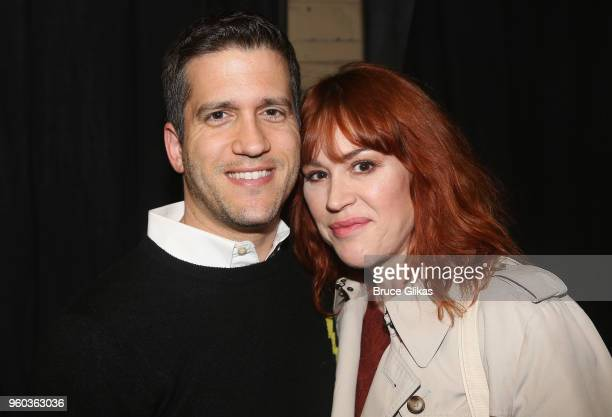 Panio Gianopoulos and wife Molly Ringwald pose backstage at the New York debut of the hit show 'Letters Live' at Town Hall on May 19 2018 in New York...