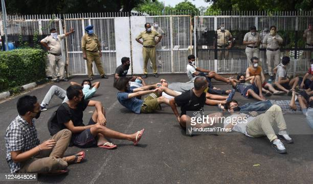 Panjab University hostellers protest in front of the Vice Chancellor's office after the uiversity ordered them to vacate the hostels at Punjab...