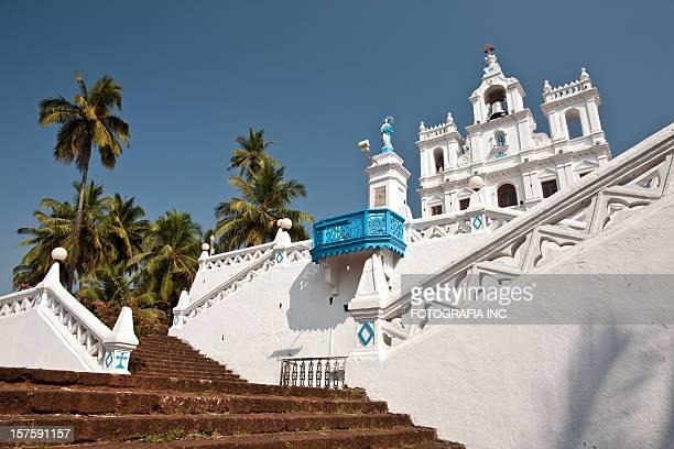 panjim church, goa - goa stock photos and pictures