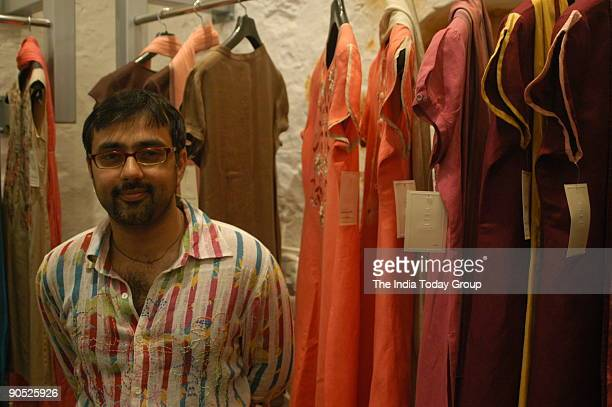 Pankaj Ahuja Rohit Bal's assistant for long and now a solo designer poses for the camera at the Carma in Mehrauli New Delhi on August 03 2006