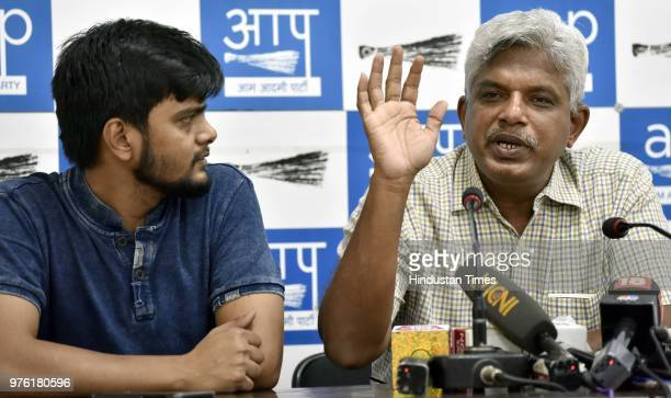 Pankaj Gupta National Secretary of the Aam Aadmi Party addresses media persons on the issue of IAS officers skipping meetings at AAP HQ on June 16...