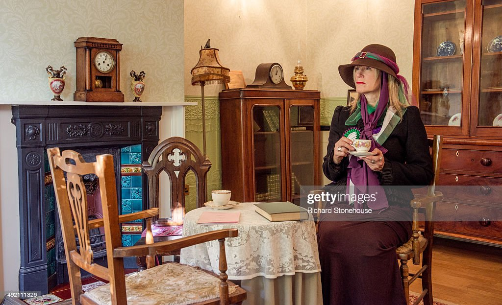 Pankhurst Centre staff member Elaine De Fries poses as a suffragette in the parlour of the former home of Emmeline Pankhurst and where the Suffragette movement began on October 8, 2015 in Manchester, England. The Pankhurst Centre was home to Emmeline Pankhurst and her daughters Christabel and Sylvia and is the birthplace of the Suffragette campaign for Votes for Women. The Parlour where the first WSPU (Women's Social and Political Union) meeting was held has been recreated as part of the museum which also hosts a number of women's organisations, projects that support women and a food bank.