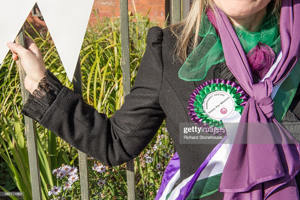 Pankhurst Centre staff member Elaine De Fries poses as a suffragette at the former home of Emmeline Pankhurst and where the Suffragette movement began on October 8, 2015 in Manchester, England. The Pankhurst Centre was home to Emmeline Pankhurst and her daughters Christabel and Sylvia and is the birthplace of the Suffragette campaign for Votes for Women. The Parlour where the first WSPU (Women's Social and Political Union) meeting was held has been recreated as part of the museum which also hosts a number of women's organisations, projects that support women and a food bank.