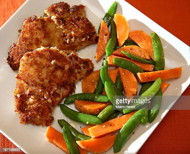 Panko bread crumbs give a golden crust to boneless skinless chicken thighs while horeradish gives the taste a bit of zing
