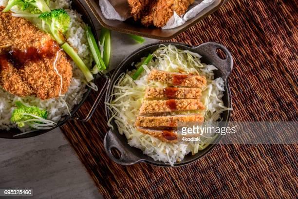 panko crusted crispy pork cutlets over steamed rice - tonkatsu imagens e fotografias de stock