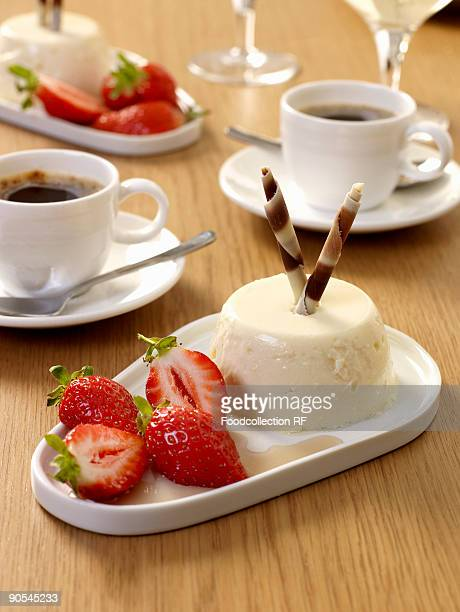 Panna cotta with balsamic strawberries