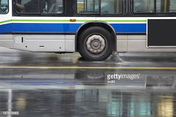 panned bus in heavy rain - wheel stock pictures, royalty-free photos & images