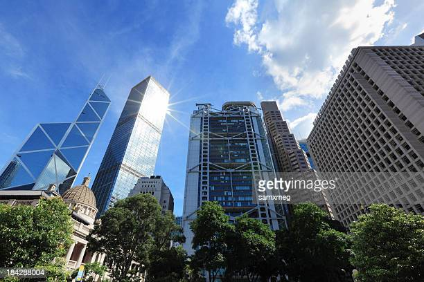 A panned out shot of large buildings in Hong Kong