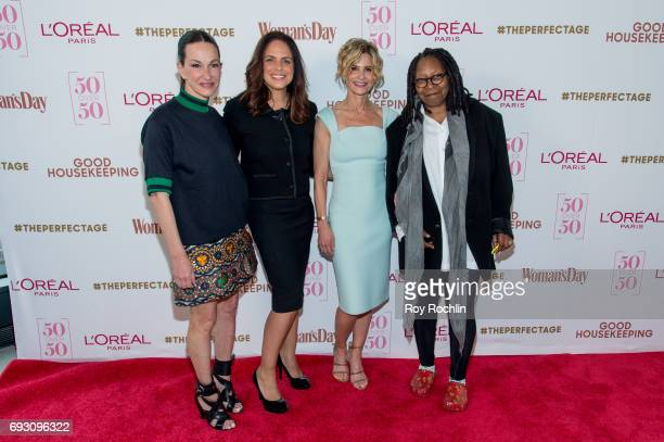 Pannel members Cynthia Rowley Soledad O'Brien Kyra Sedgwick and Whoopi Goldberg attend 50 Over 50 Luncheon at Hearst Tower on June 6 2017 in New York...