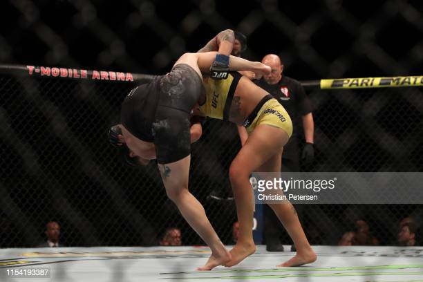 Pannie Kianzad of Sweden attempts a takedown against Julia Avila in their bantamweight fight during the UFC 239 event at T-Mobile Arena on July 6,...