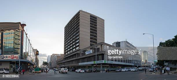 Pano of modern office blocks in downtown Harare, Zimbabwe
