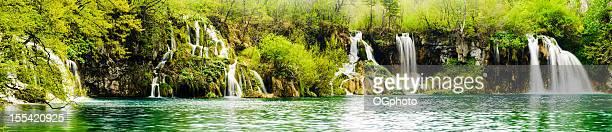 Panorama - a series of waterfalls along lake