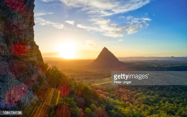 panorama aerial view of mount coonowrin with mount beerwah in the background,glasshouse mountains,queensland,australia - glass house mountains stock pictures, royalty-free photos & images