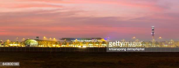 Panorama, Airport at night on January  31, 2016 in Bangkok ,Thailand.