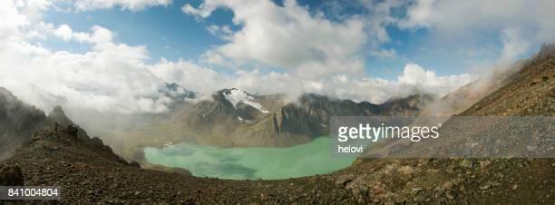 panorama ala kul lake - kyrgyzstan - kyrgyzstan stock pictures, royalty-free photos & images