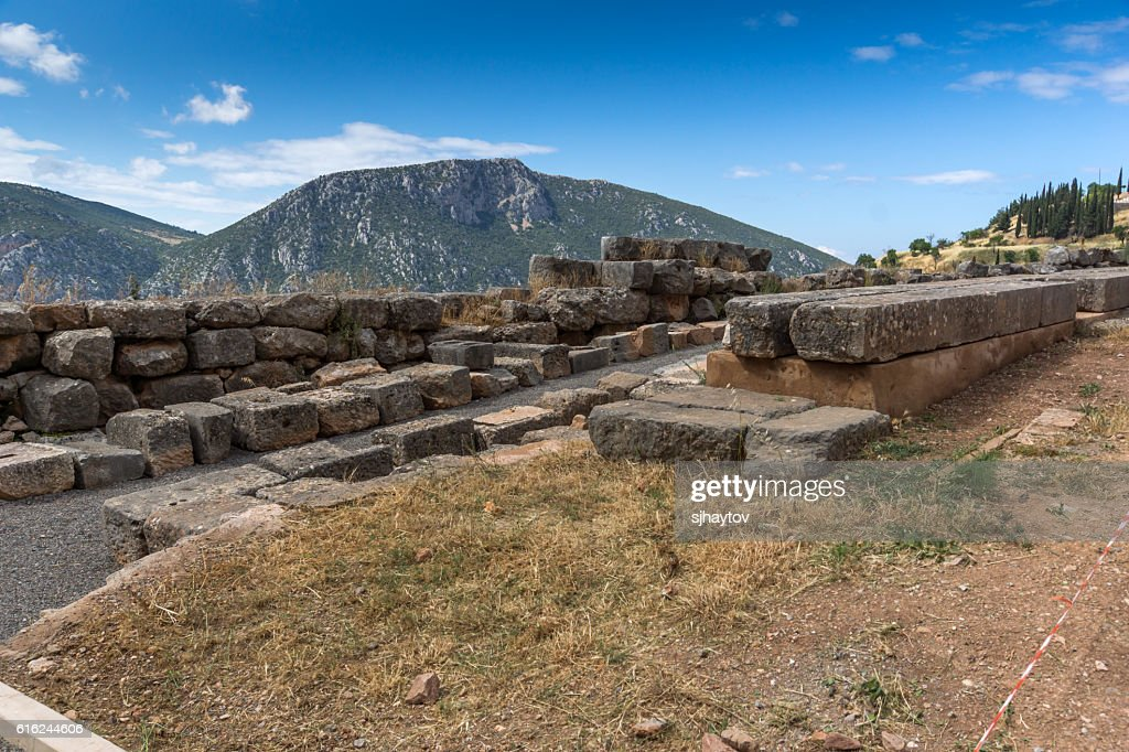 Panorama and Ruins of Ancient Greek archaeological site of Delphi : Foto de stock