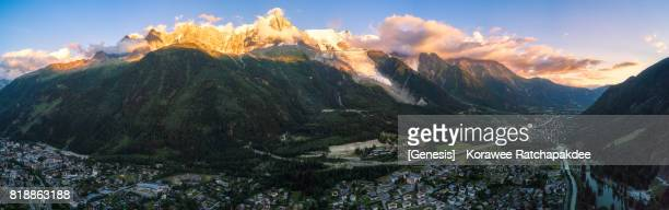 A panorama at Chamonix Mont Blanc from aerial view