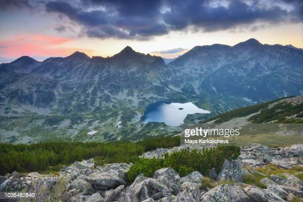 panorama at dusk from pirin mountain, bulgaria - pirin mountains stock pictures, royalty-free photos & images