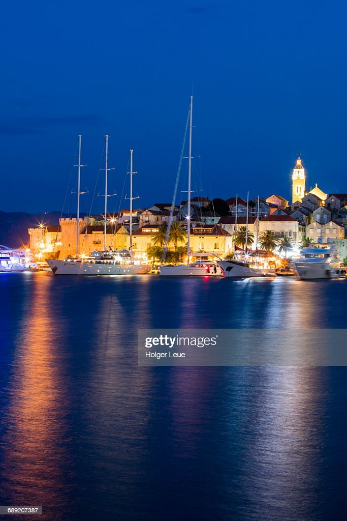 M/S Panorama at pier and Old Town at dusk : Stock Photo