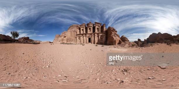 360 panorama at the monastery, petra, jordan - 全天周パノラマ ストックフォトと画像
