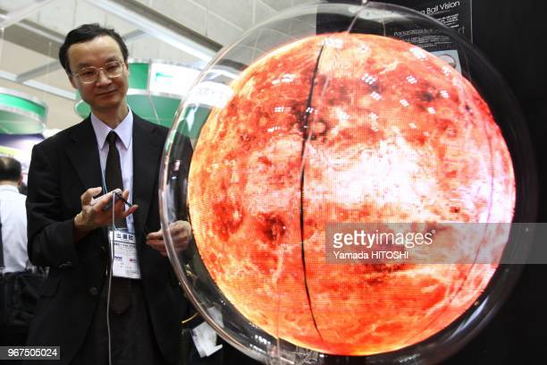 Panorama Ball at highspeed showing virtual images at the annual virtual reality exhibition in Tokyo Big Sight Tokyo Kotoku on June 25 2009